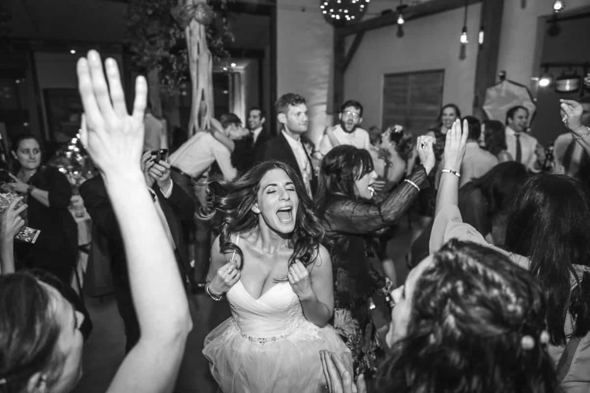 bride is enjoying the toast events